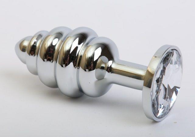 Серебристая фигурная пробка с прозрачным стразом (8 см)
