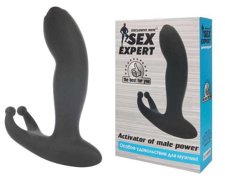 Чёрный массажёр простаты с вибрацией Activator Of Male Power (11,4 см)
