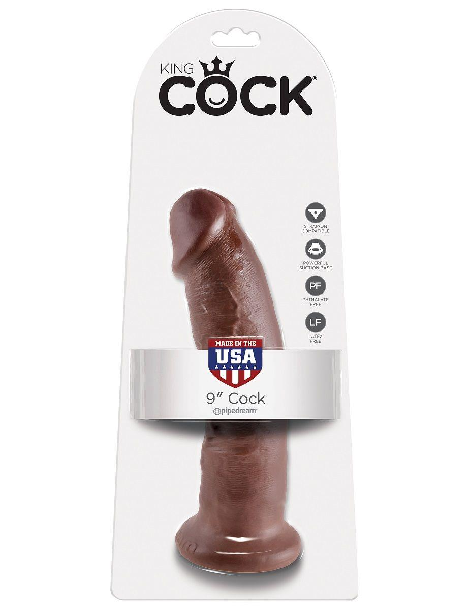 Коричневый фаллоимитатор 9 Cock - 22,9 см.