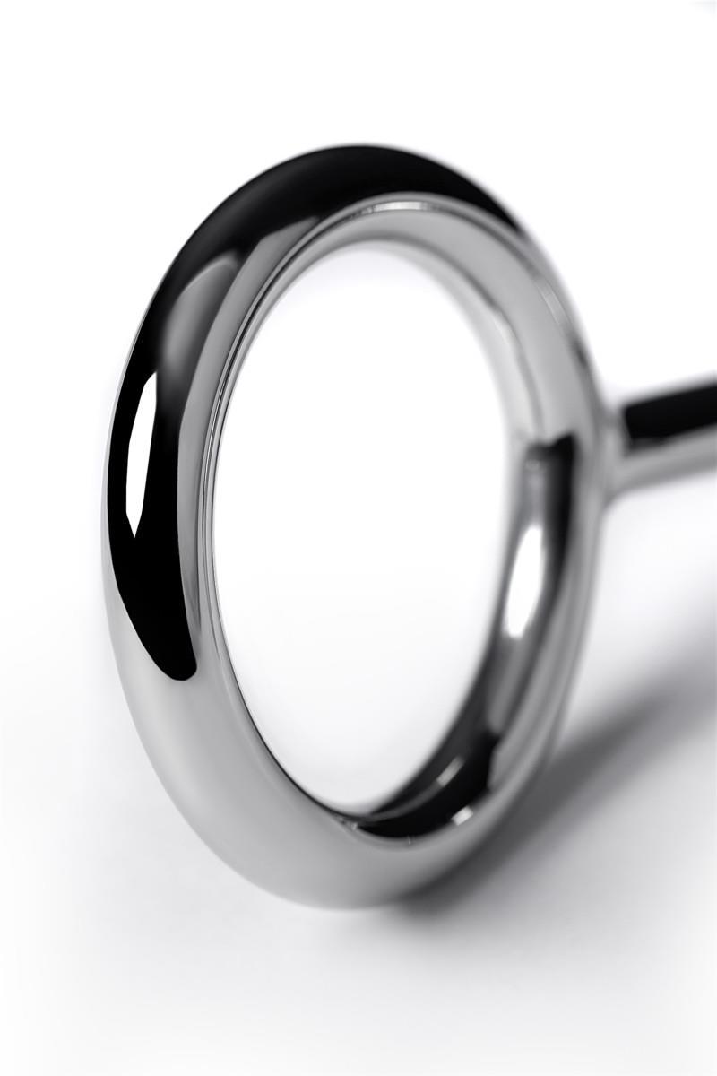 Металлическое эрекционное кольцо размера L с анальной втулкой