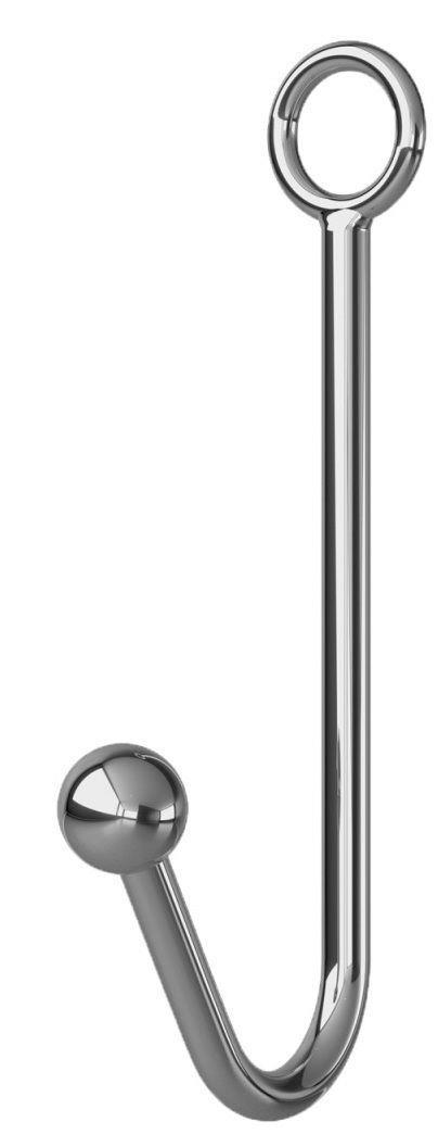 Серебристый анальный крюк с фиксацией, ошейником и наручниками