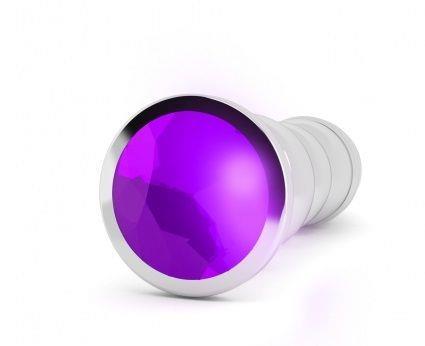 Серебристая фигурная анальная пробка R10 RICH Gold/Purple с фиолетовым кристаллом - 14,5 см.