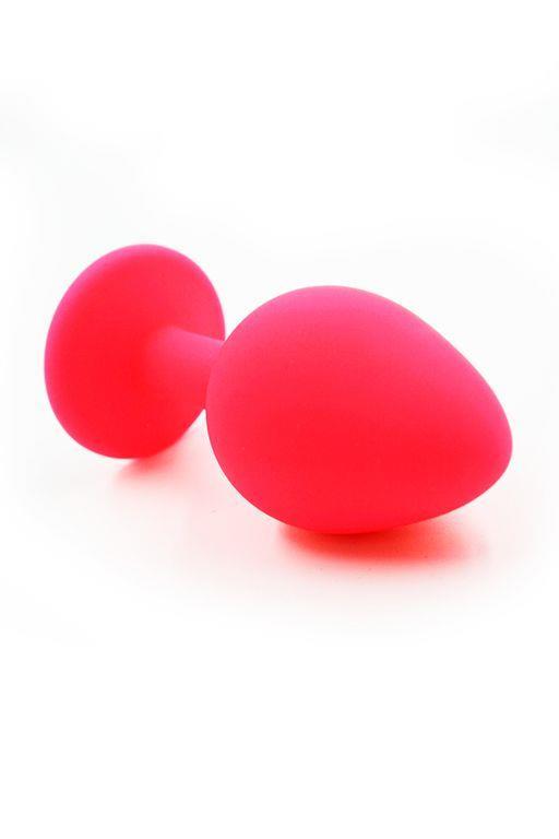 Розовая силиконовая анальная пробка с радужным кристаллом - 7 см.