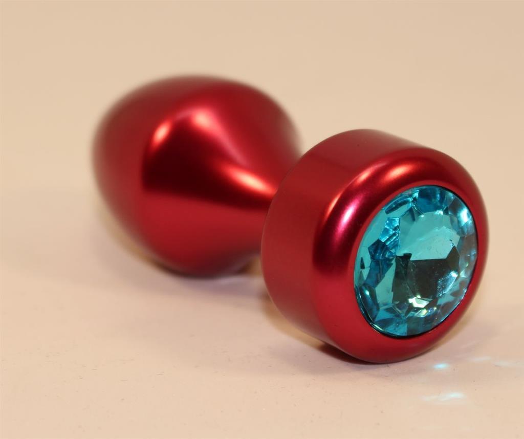 Красная анальная пробка с голубым кристаллом (7,8 см)