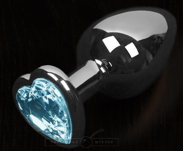 Графитовая анальная пробка с голубым кристаллом в виде сердечка - 6 см.