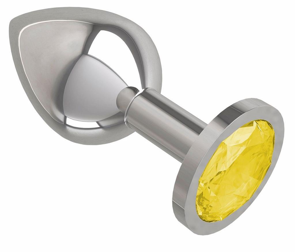 Серебристая анальная пробка среднего размера с желтым кристаллом (8,5 см)