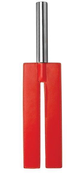 Красная П-образная шлёпалка Leather Slit Paddle - 35 см.