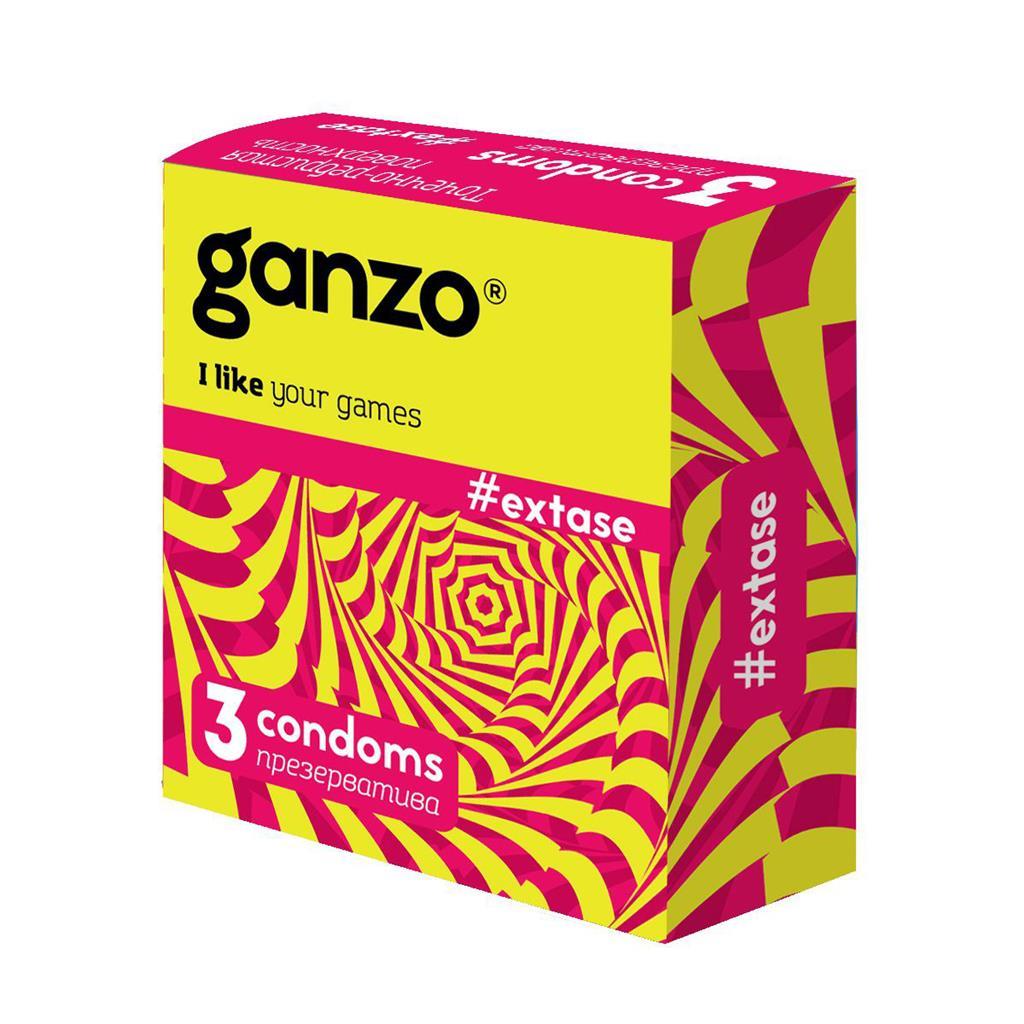 Презервативы анатомической формы с точечной и ребристой структурой Ganzo Extase (3 шт)
