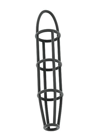 Серая насадка-клетка на пенис Cockcage with ball strap №30