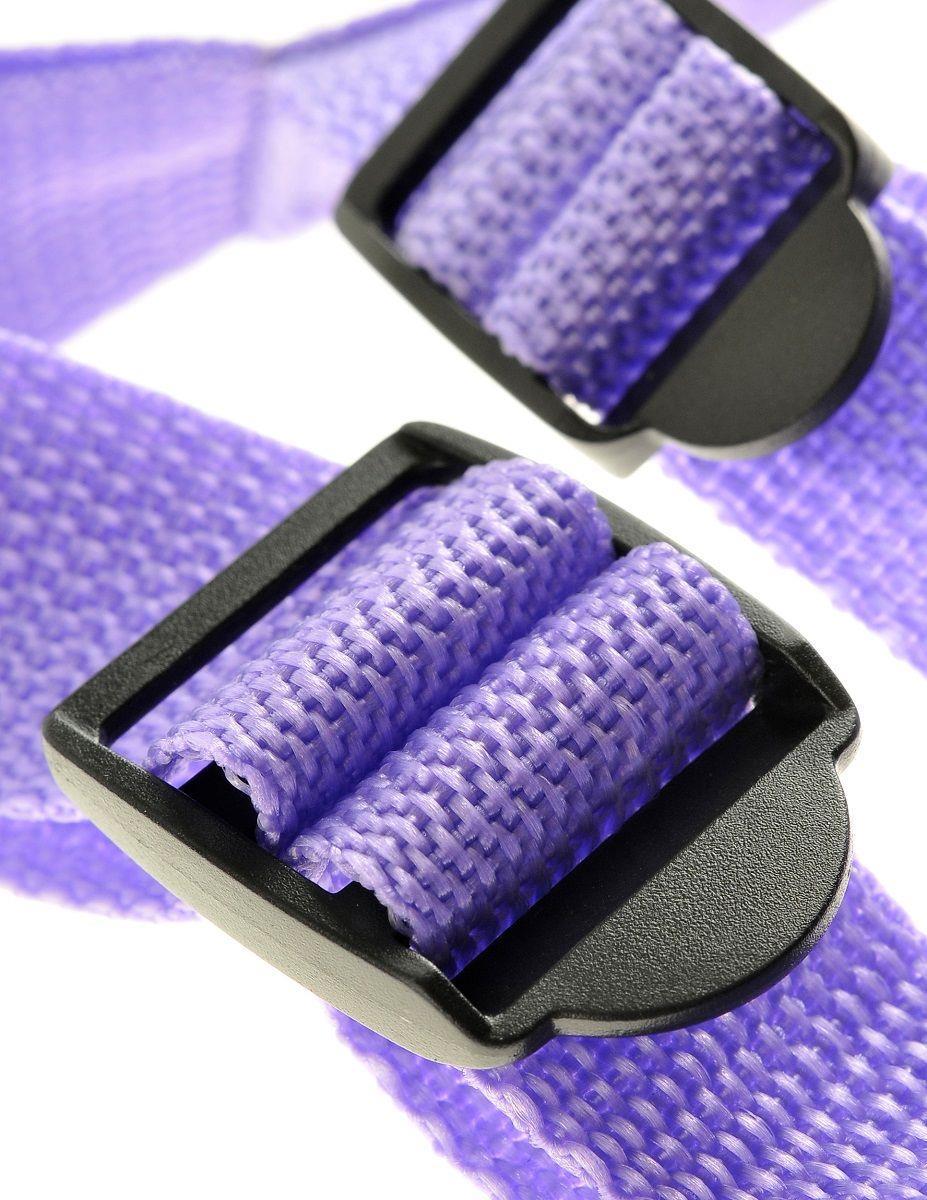 Фиолетовая страпон-система 7 Strap-On Suspender Harness Set с реалистичной насадкой - 19 см.