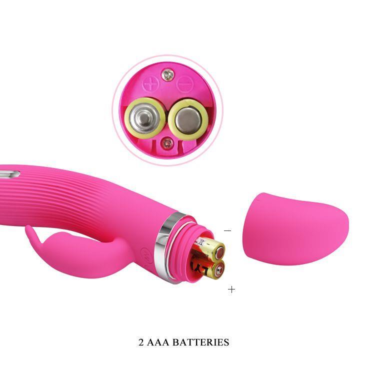 Розовый вибратор Ingram с электростимуляцией (19,2 см)