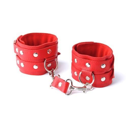 Красные кожаные наручники с велюровой подкладкой