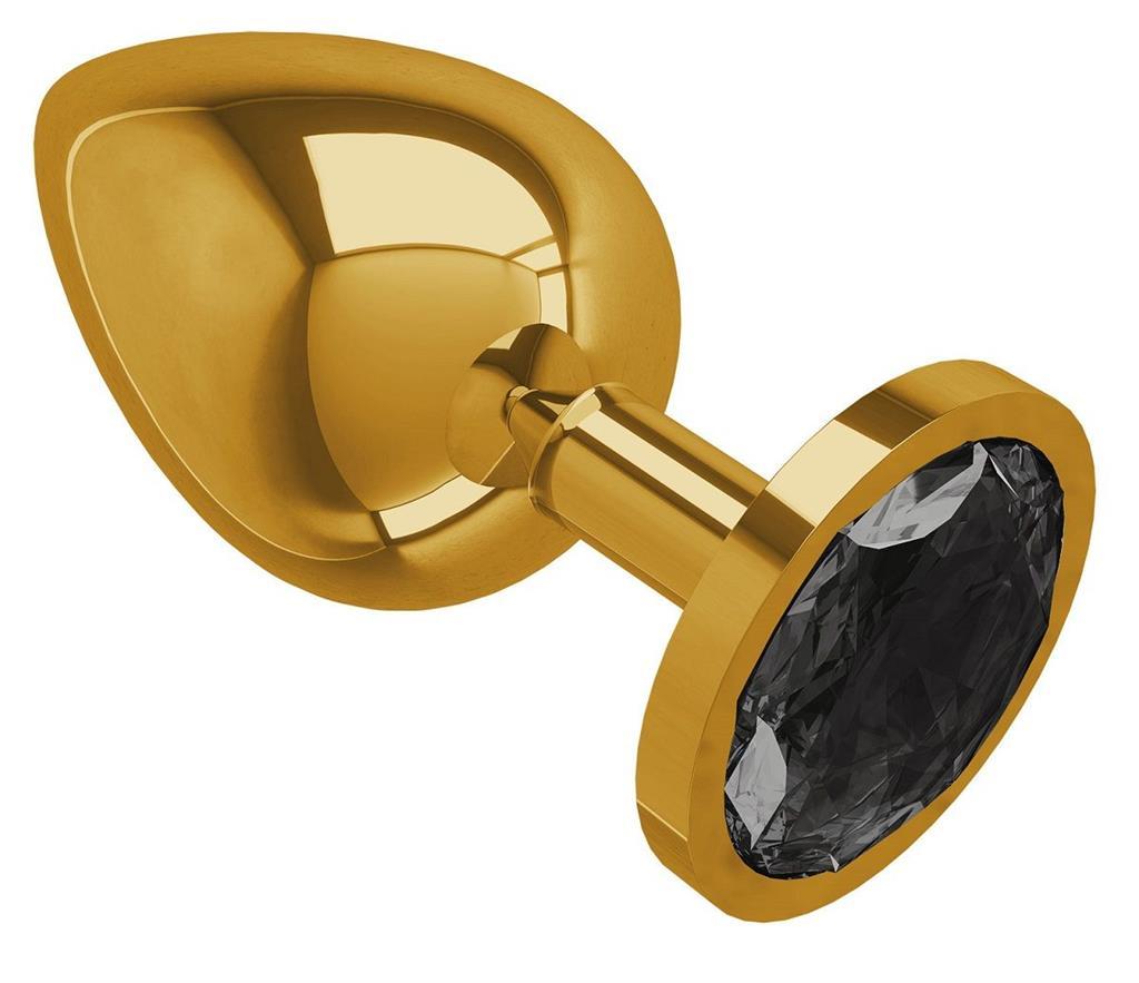 Золотистая большая анальная пробка с чёрным кристаллом (9,5 см)