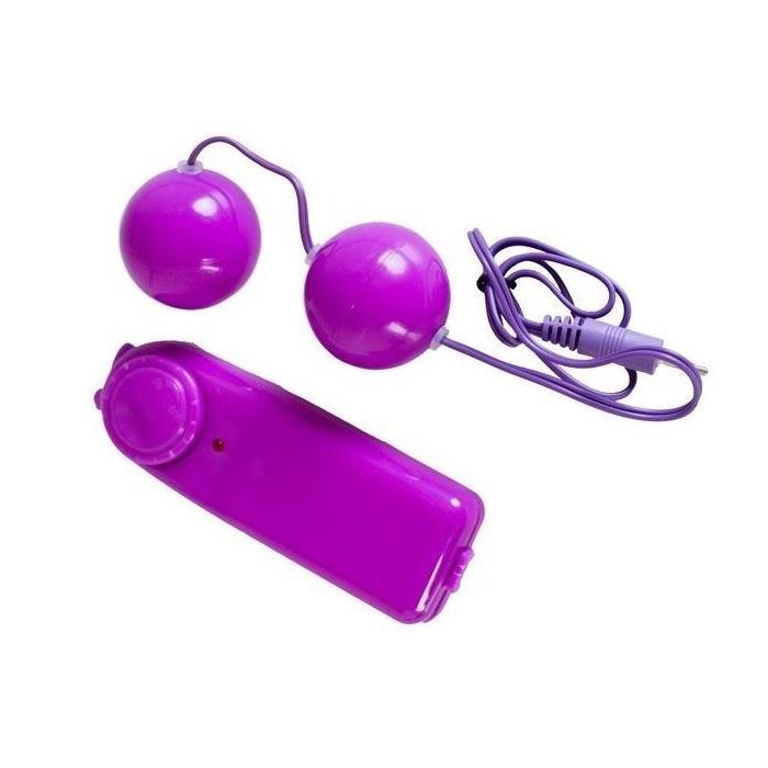 Фиолетовые вагинальные шарики с вибрацией (3 см)