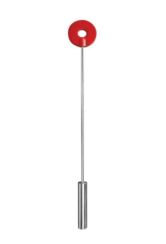 Красная шлёпалка Leather Circle Tiped Crop с наконечником-кругом - 56 см.