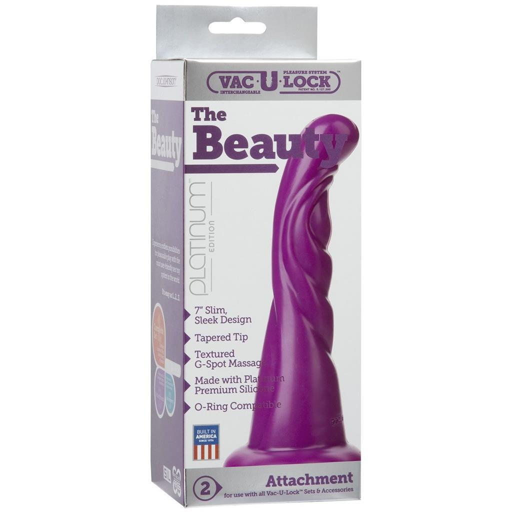 Фиолетовая рельефная насадка Vac-U-Lock Platinum Edition The Beauty - 18,8 см.