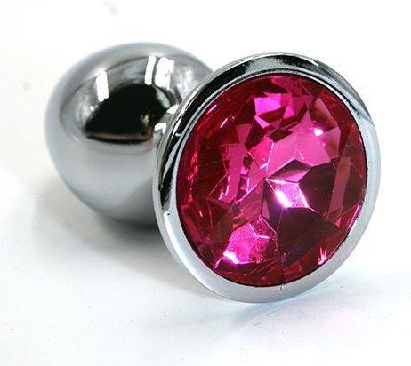 Серебристая алюминиевая анальная пробка с ярко-розовым кристаллом (6 см)