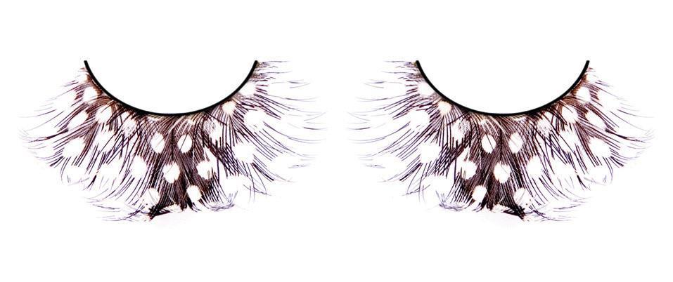 Коричневые ресницы-перья в белый горошек