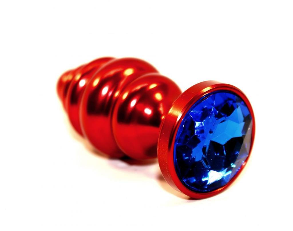 Красная фигурная пробка с синим стразом (7,3 см)