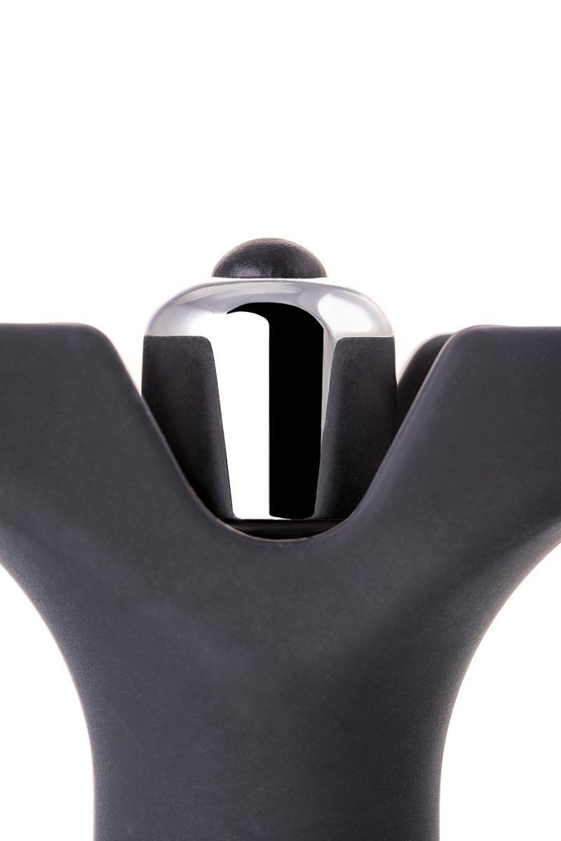 Чёрное эрекционное кольцо с анальной вибропробкой