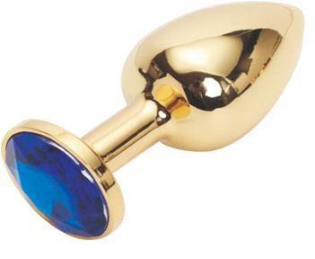 Золотистая анальная пробка с тёмно-синим кристаллом размера M - 8 см.