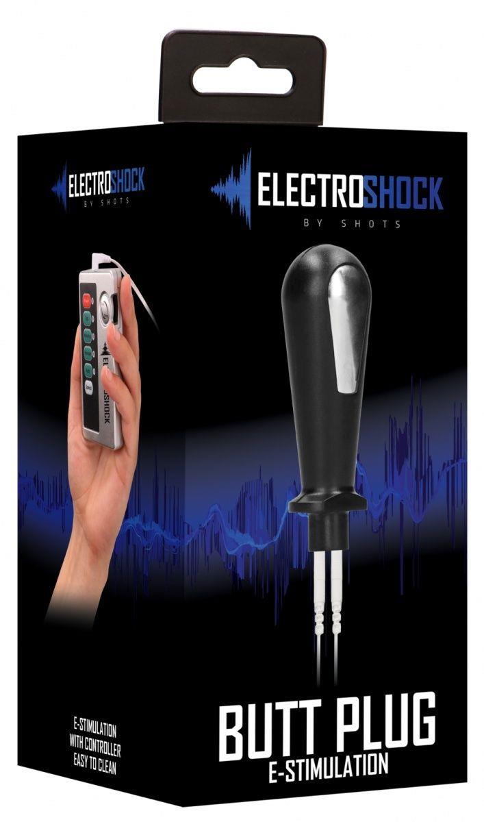 Черный электростимулятор с проводящей насадкой E-Stim Butt Plug - 8 см.