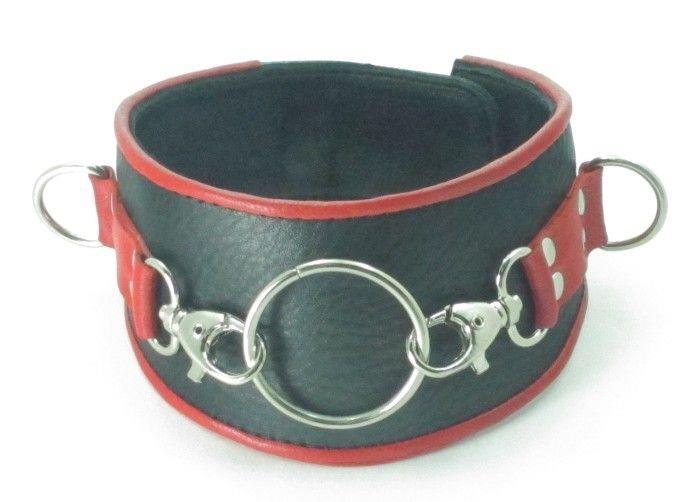Черный кожаный ошейник с кольцом