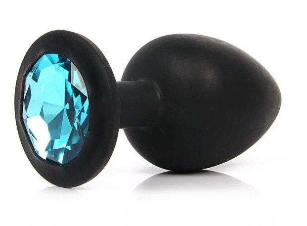 Чёрная силиконовая пробка с голубым кристаллом размера S (6,8 см)