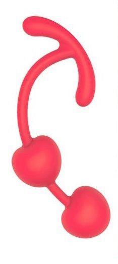 Красные силиконовые вагинальные шарики с ограничителем