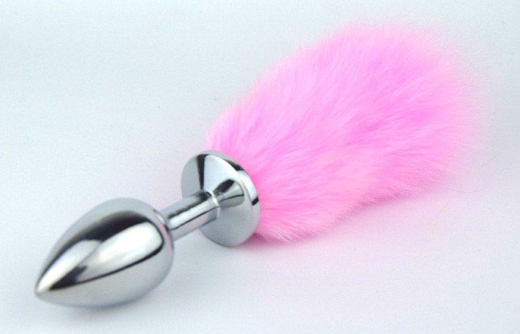 Металлическая пробка с розовым хвостиком - 11 см.