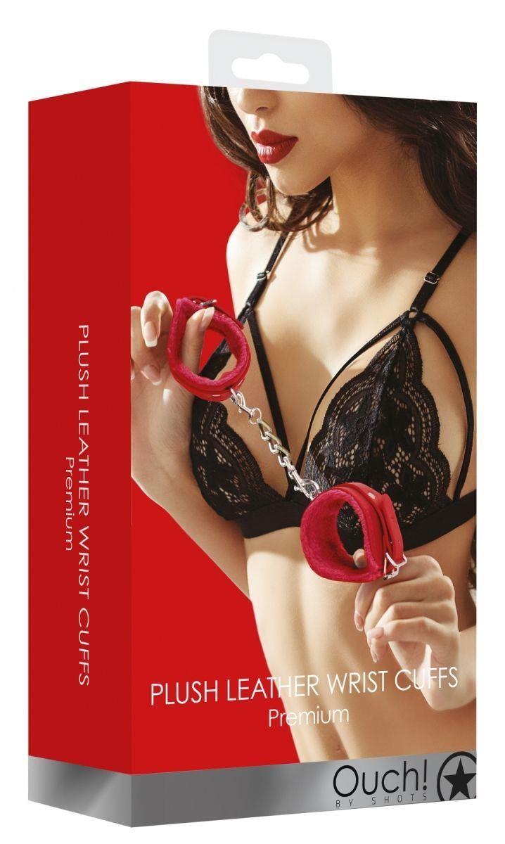 Красные наручники Plush Leather Hand Cuffs
