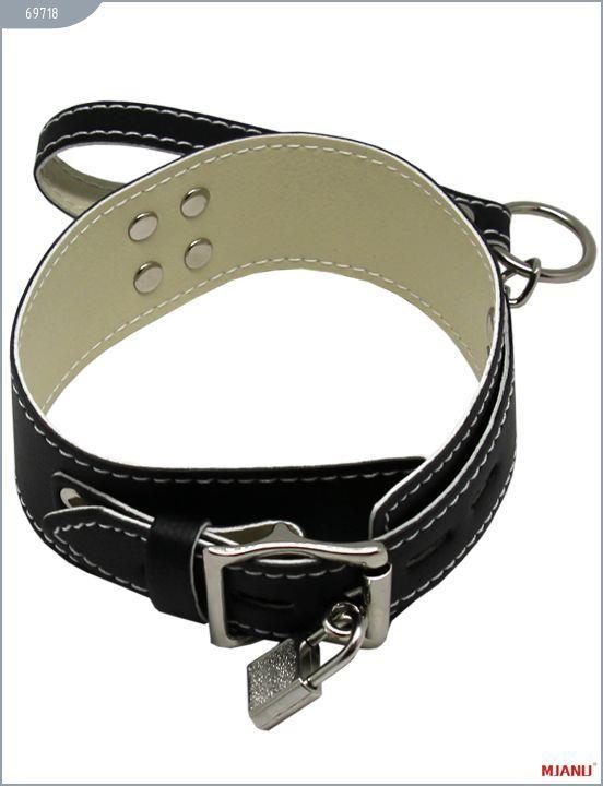 Чёрный кожаный ошейник Mjanu с фиксацией и поводком-цепью