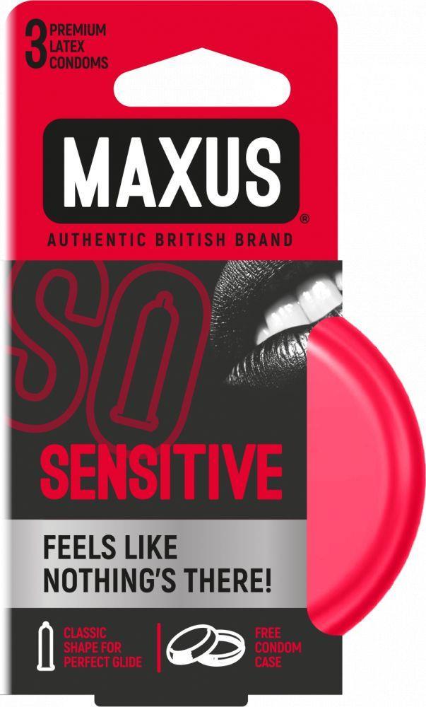 Ультратонкие презервативы MAXUS Sensitive в железном кейсе (3 шт)
