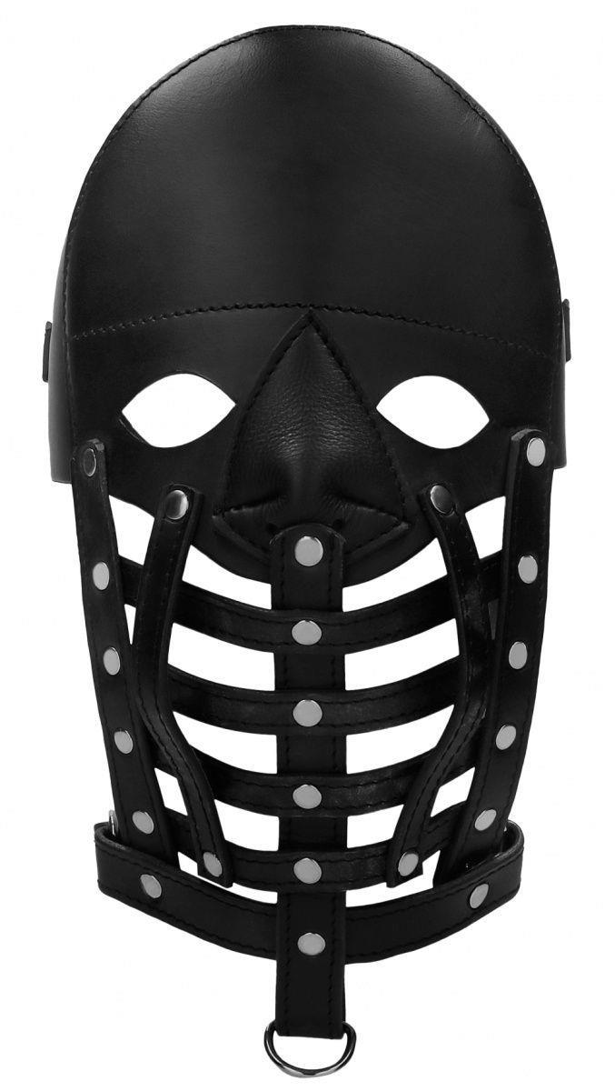 Черная маска-шлем Leather Male Mask