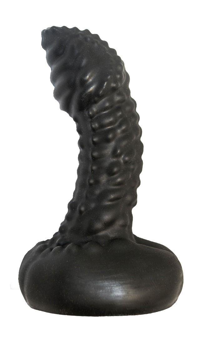 Чёрный массажер простаты с пупырышками (9,5 см)