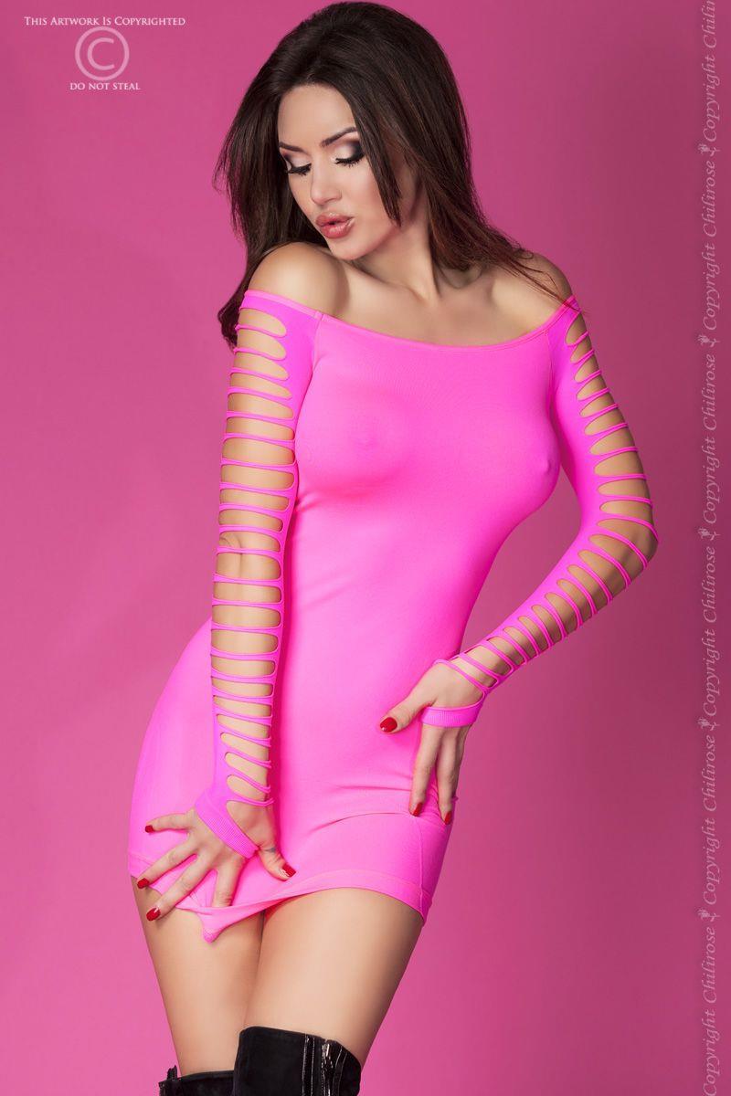 Эротическое платье с прорезями на рукавах и спине