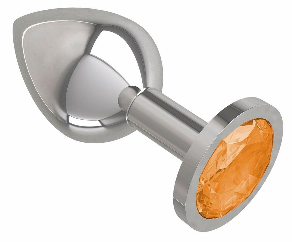 Серебристая анальная пробка среднего размера с оранжевым кристаллом (8,5 см)