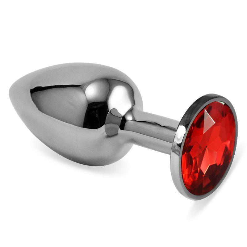 Серебристая анальная пробка с красным кристаллом размера L - 9 см.