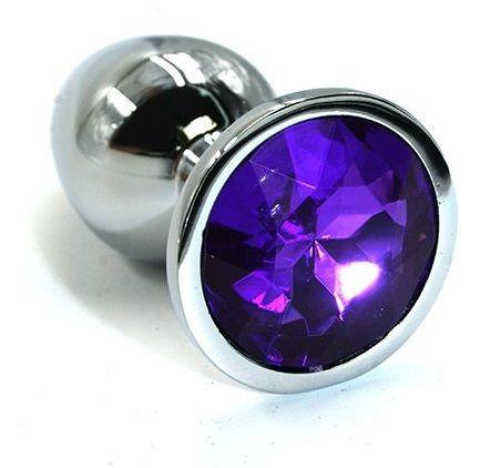 Серебристая алюминиевая анальная пробка с темно-фиолетовым кристаллом (7 см)