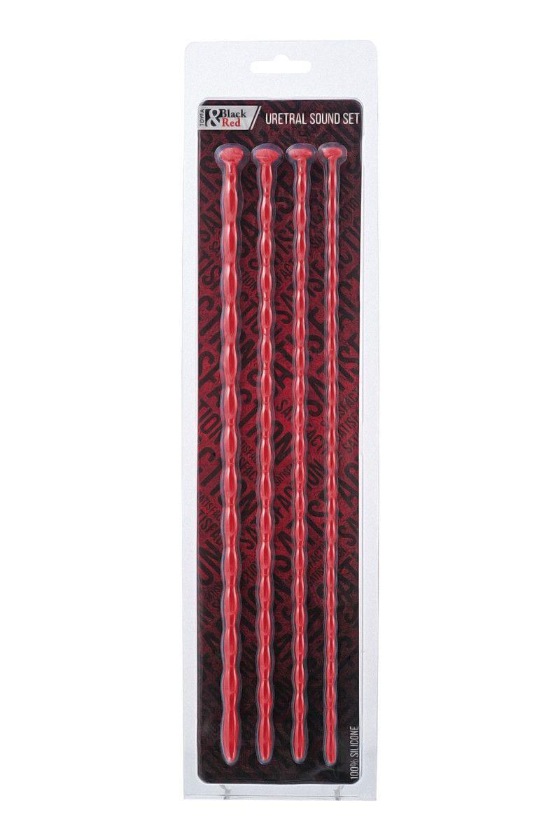 Набор из 4 красных уретральных зондов TOYFA Black&Red различного диаметра