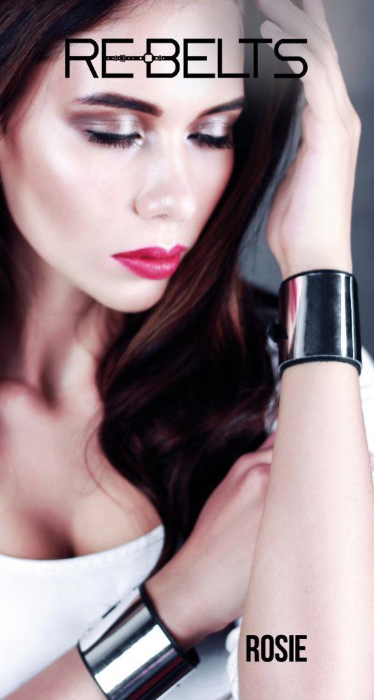 Черные наручники Rosie Black с зеркальным элементом