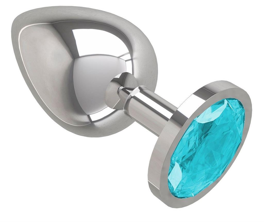 Серебристая большая анальная пробка с голубым кристаллом (9,5 см)