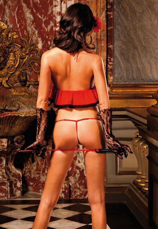Эффектный красный комплект белья Spanish со стрингами