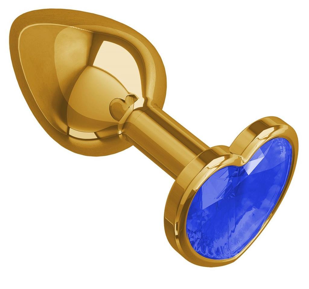 Золотистая анальная втулка с синим кристаллом-сердцем (7 см)