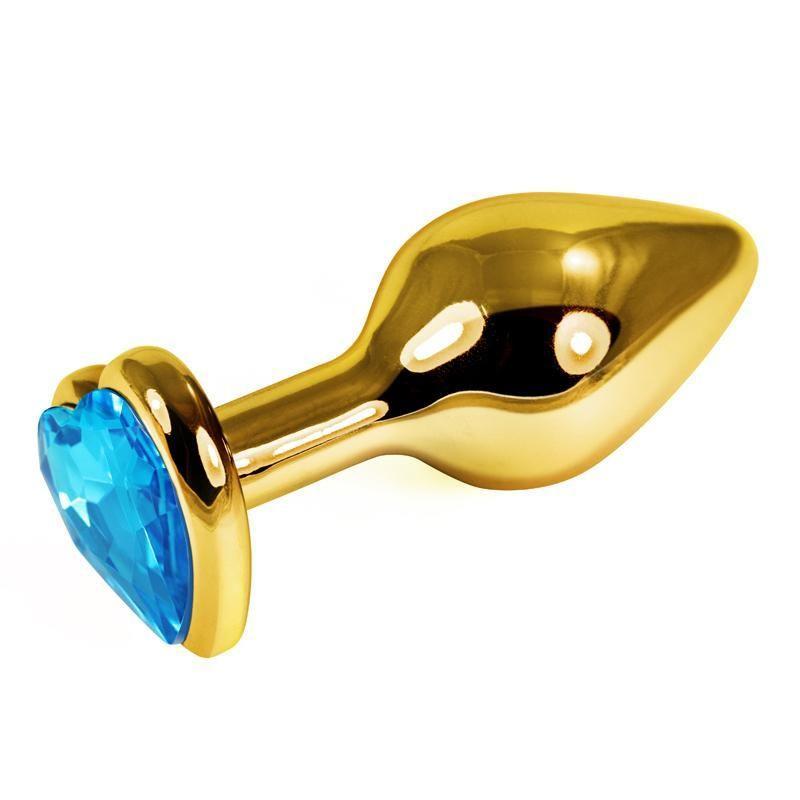 Золотистая анальная втулка с голубым кристаллом-сердцем (7 см)