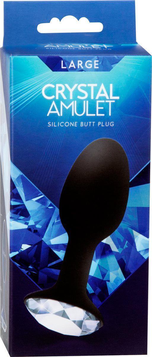 Чёрная большая анальная пробка с кристаллом в основании - 10,7 см.