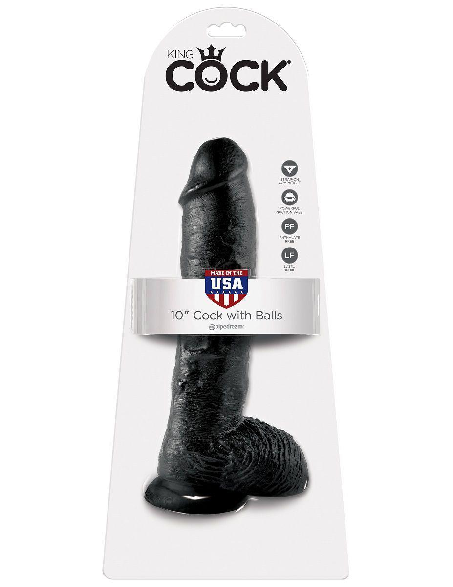 Реалистичный чёрный фаллоимитатор-гигант Cock With Balls (25,4 см)