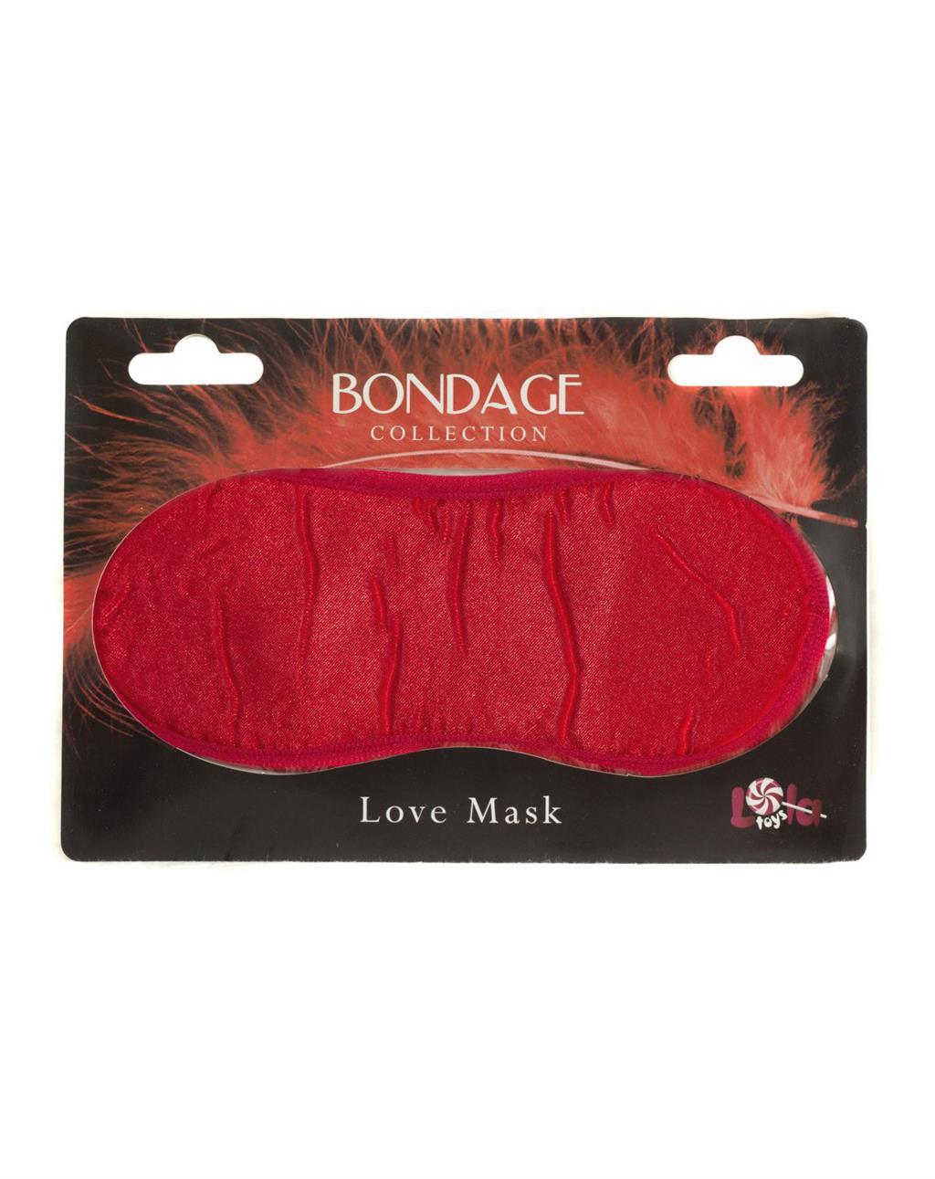 Красная маска на глаза BONDAGE LOVE MASK