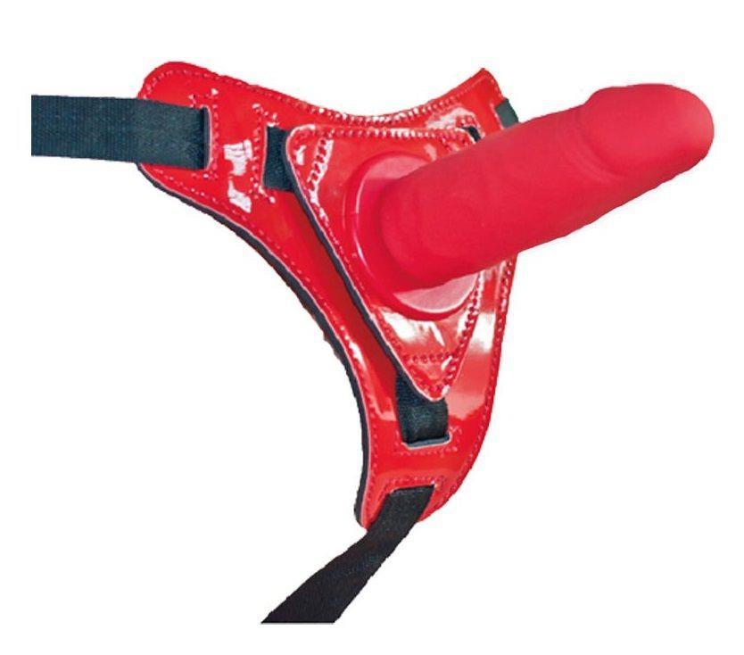 Красный страпон на лакированных трусиках (12 см)