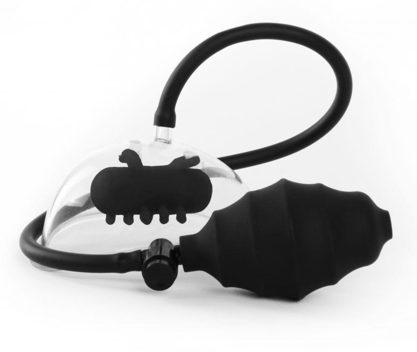 Чёрная вакуумная вибропомпа для клитора Vibrating Pussy Pump